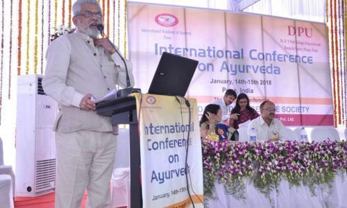 Prof. Dr. GG Gangadharan at the International Conference on Ayurveda held in Pune on January 14 & 15, 2018